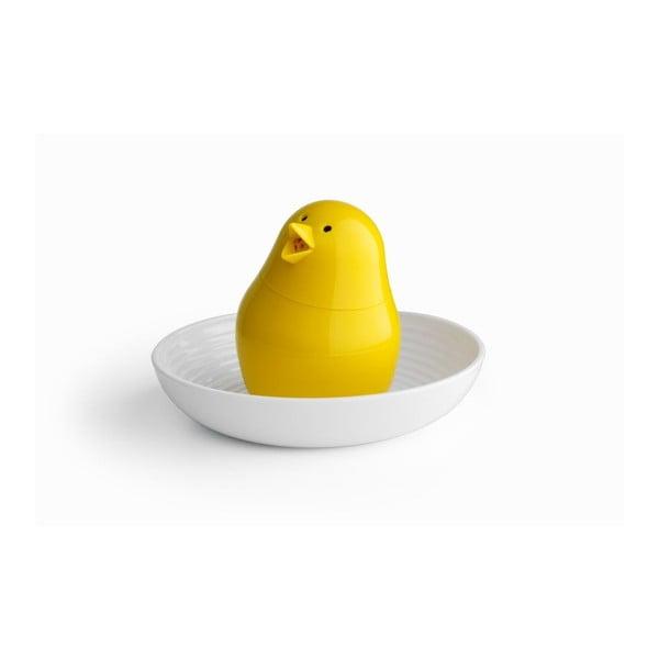 Soľnička s tanierikom QUALY Jib-Jib Shaker, biela-žltá