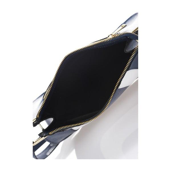Kožená kabelka Belinda, modro-biela