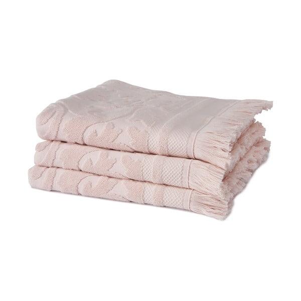 Sada 3 ružových uterákov z organickej bavlny Seahorse, 60x110cm