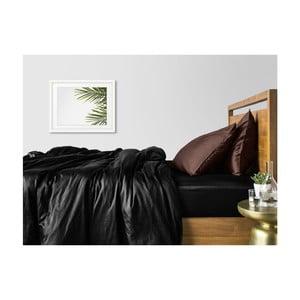 Sada 2 čierno-hnedých bavlnených obliečok na jednolôžko s čiernou plachtou COSAS Lago, 160×220cm