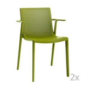 Sada 2 zelených záhradných stoličiek sopierkami Resol Beekat