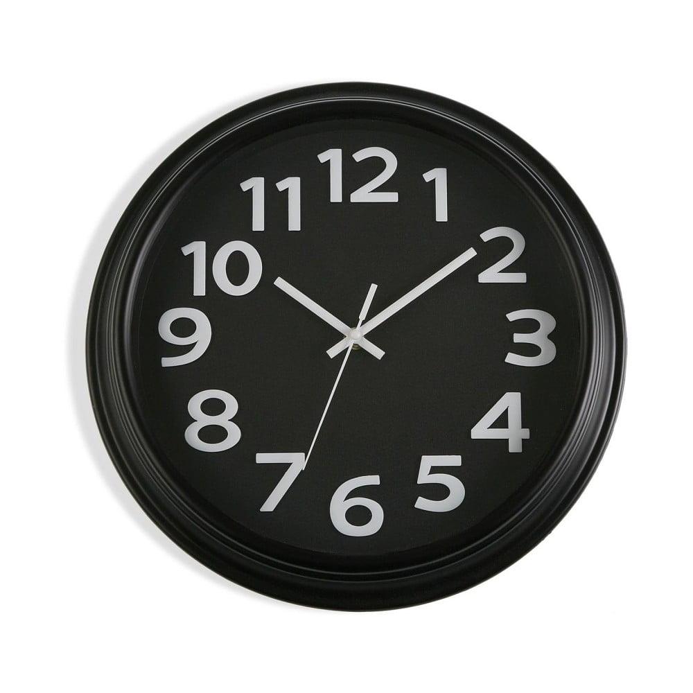 Čierne nástenné hodiny Versa In Time, ⌀ 32,7 cm