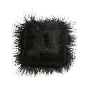 Kožušinový vankúš Iceland Black, 35x35 cm