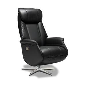 Čierna kožená stolička Furnhouse Donanza