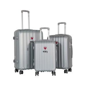 Sada 3 svetlosivých cestovných kufrov LULU CASTAGNETTE Edge
