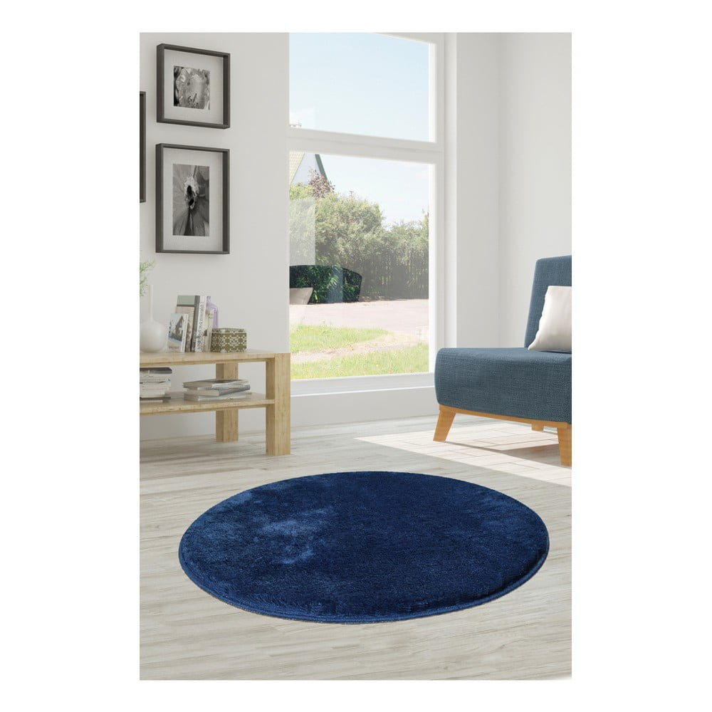 Tmavomodrý koberec Milano, ⌀ 90 cm