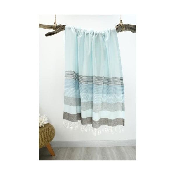 Modrá osuška z čistej bavlny Hammam Strip Style, 90 x 180 cm