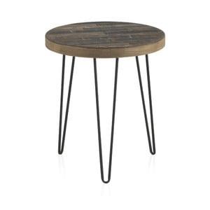 Odkladací stolík s doskou z brestového dreva Geese Cala, ⌀ 46 cm
