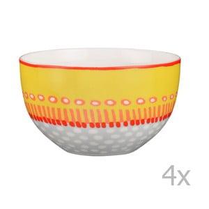 Sada 4 porcelánových misiek Oilily 12 cm, žltá