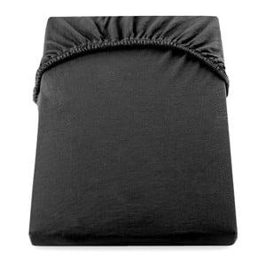 Čierna elastická bavlnená plachta DecoKing Amber Collection, 100-120×200cm