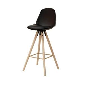 Čierna barová stolička s podnožím z dubového dreva Actona Oslo I.