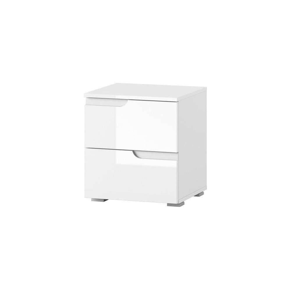 Biely nočný stolík s 2 zásuvkami Szynaka Meble Selene