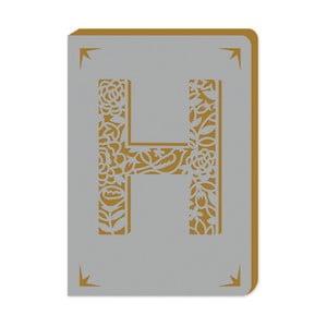 Linajkový zápisník A6 s monogramom Portico Designs H, 160stránok