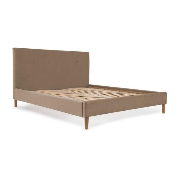 Hnedá posteľ s prírodnými nohami Vivonita Kent, 140×200cm