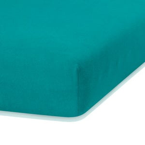 Tmavozelená elastická plachta s vysokým podielom bavlny AmeliaHome Ruby, 200 x 100-120 cm