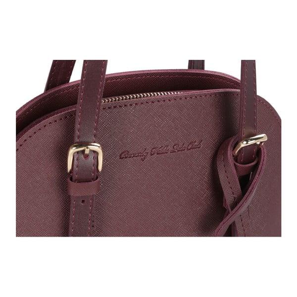 Tmavočervená kabelka z eko kože Beverly Hills Polo Club Dedra