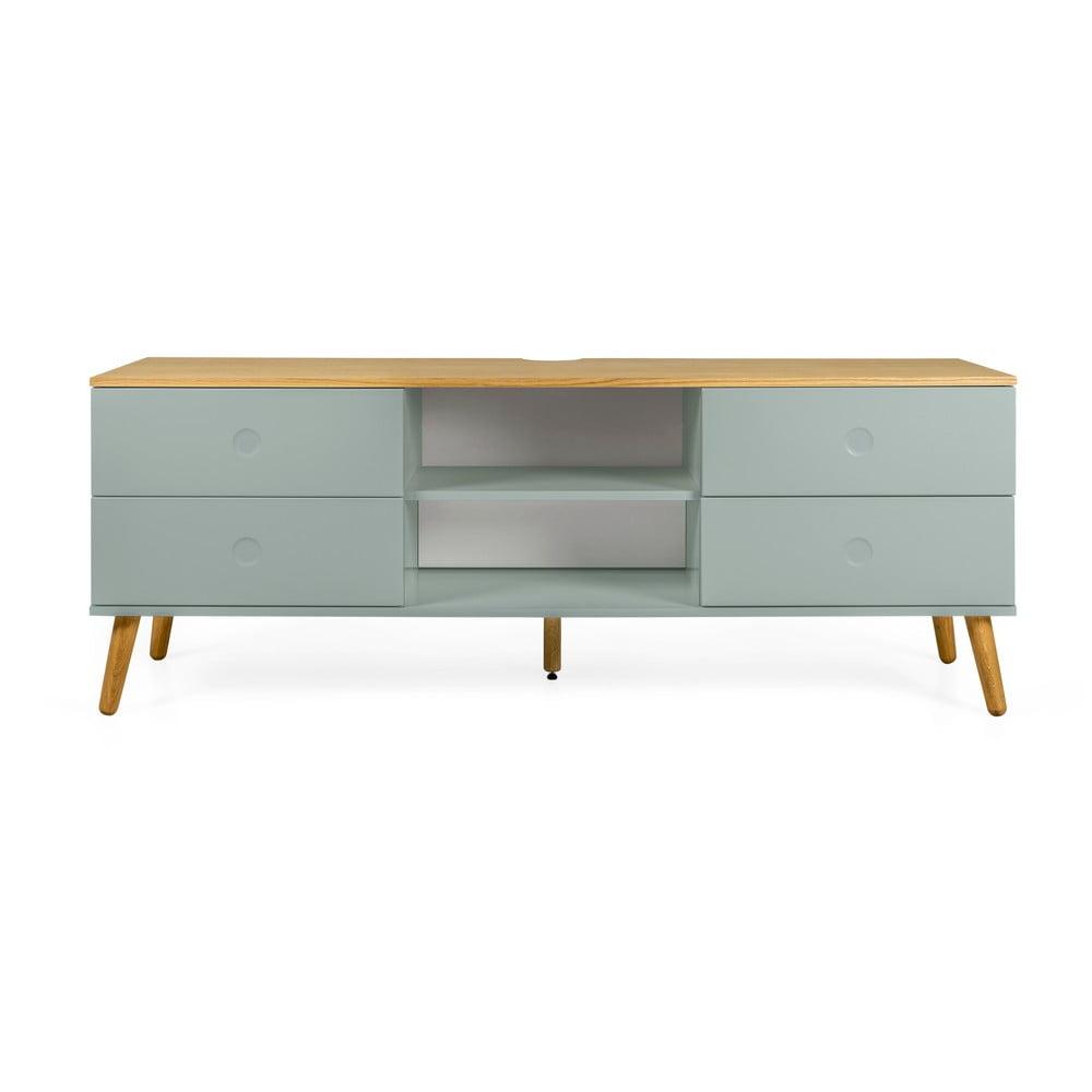 Zelený TV stolík s nohami v dekore dubového dreva Tenzo Dot, šírka 162 cm
