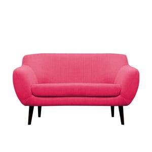 Ružová pohovka pre dvoch Mazzini Sofas Toscane, čierne nohy