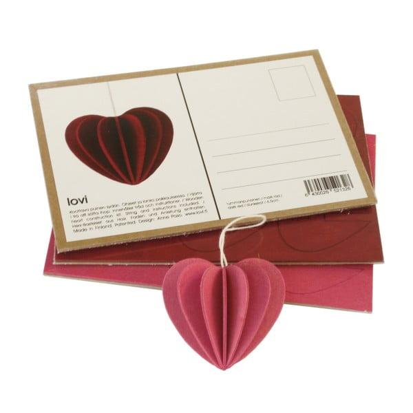 Skladacia pohľadnica Heart Light Pink, 6.8 cm