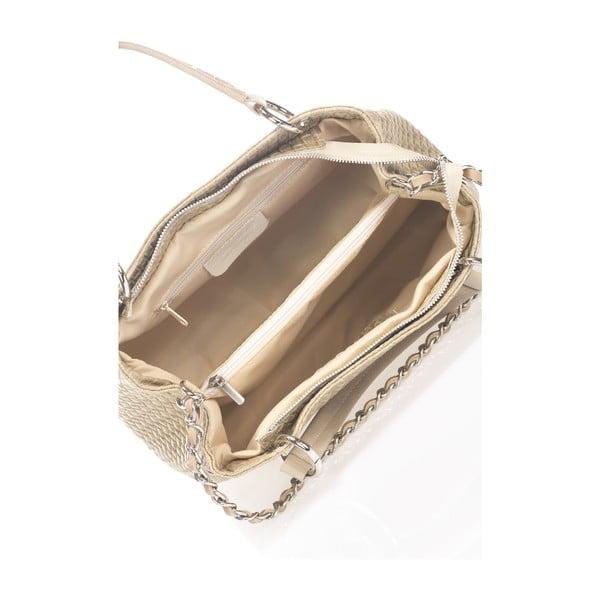 Béžová kožená kabelka Massimo Castelli Jannet