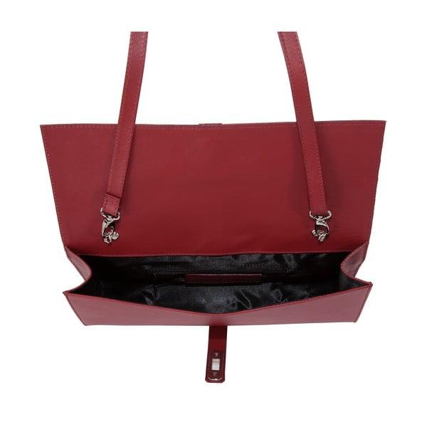 Rubínovo červená kožená kabelka Andrea Cardone 1010