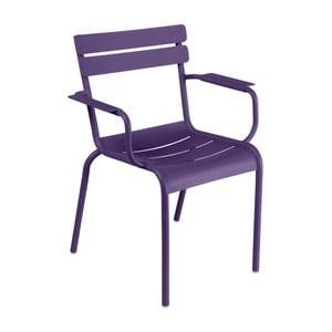 Fialová záhradná stolička s podrúčkami Fermob Luxembourg