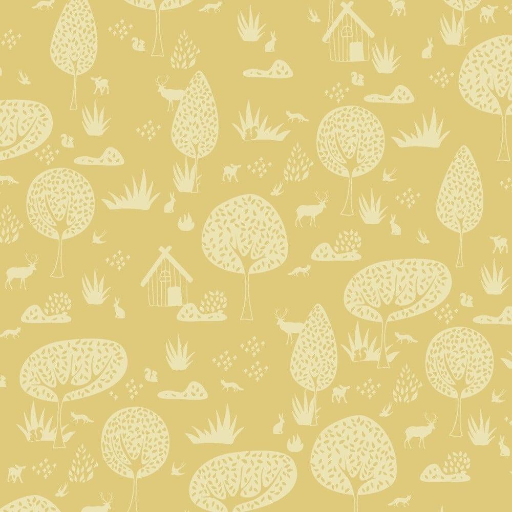 Žltá tapeta do detskej izby Art For Kids Forest, 48 × 1000 cm