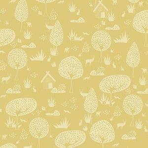 Žltá tapeta do detskej izby Art For Kids Forest, 48 x 1000 cm