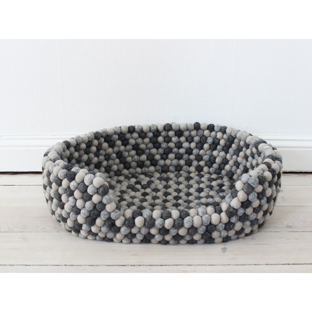 Tmavosivý guľôčkový vlnený pelech pre domáce zvieratá Wooldot Ball Pet Basket, 60 x 40 cm