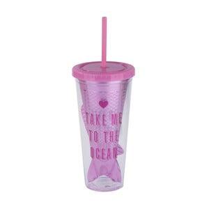 Ružový cestovný pohár so slamkou Tri-Coastal Design Take Me To The Ocean, 750 ml