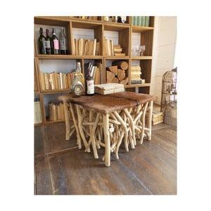 Odkladací stolík z teakového dreva a kozej kože Orchidea Milano Aspen