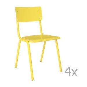 Sada 4 žltých stoličiek Zuiver Back to School