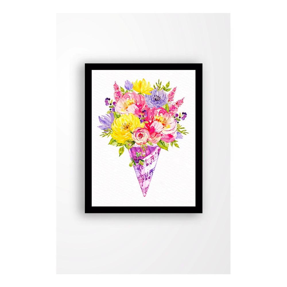 Nástenný obraz na plátne v čiernom ráme Tablo Center Bouquet, 29 × 24 cm