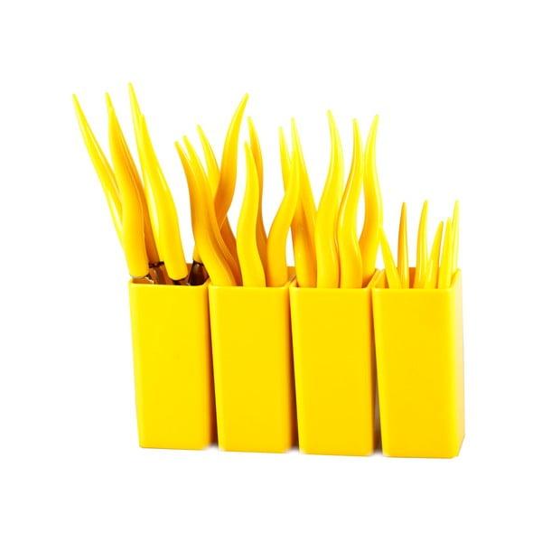 Sada 24 žltých príborov so stojanom Vialli Design Tullio