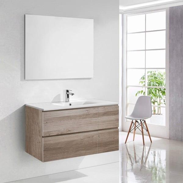 Kúpeľňová skrinka s umývadlom a zrkadlom Capri, dekor dubu, 100 cm