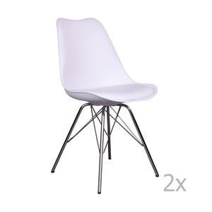 Sada 2 bielych stoličiek House Nordic Oslo Chrome