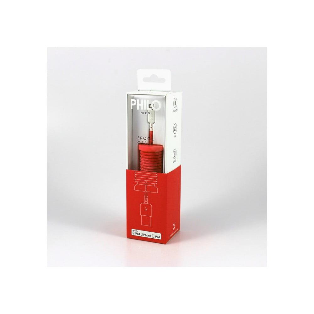 Červený nabíjací USB kábel pre Apple Philo Energy, dĺžka 1 m