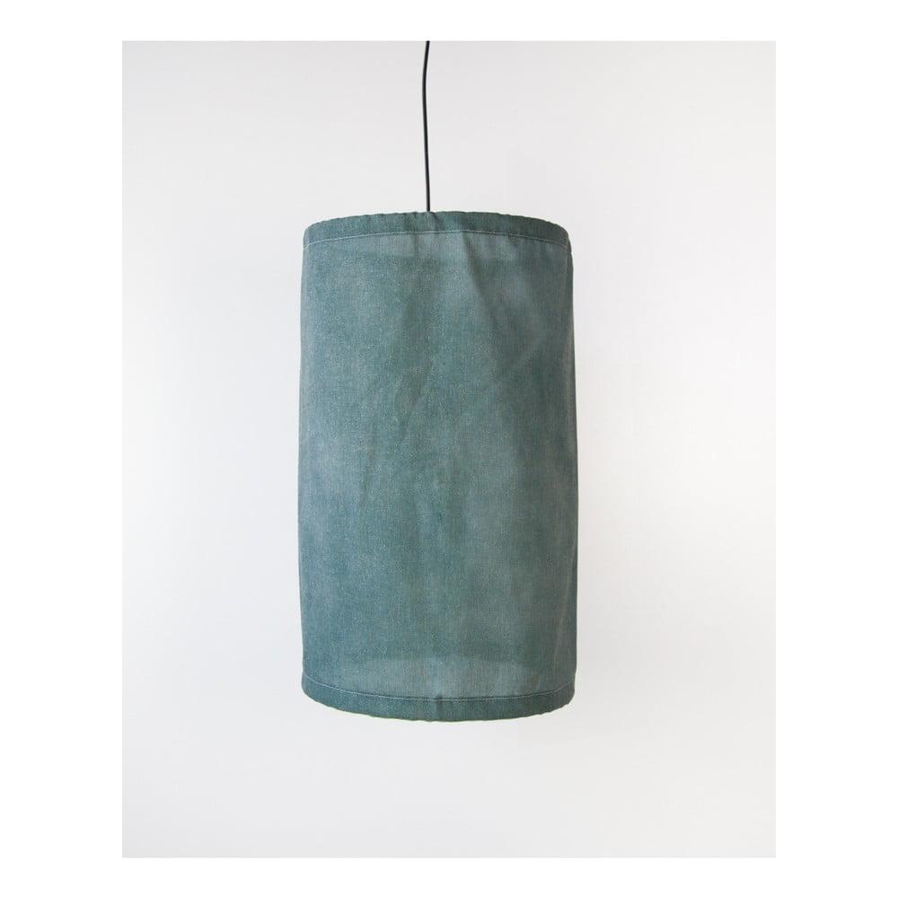 Zelené závesné svietidlo z ľanu a kovu Surdic, Ø 35 cm