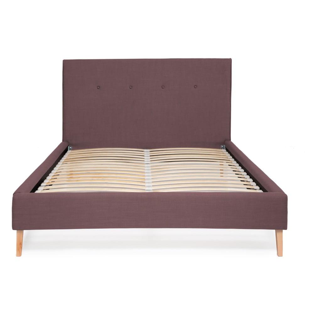 Fialová posteľ Vivonita Kent Linen, 200 × 180 cm