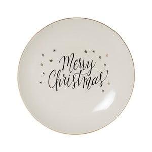 Biely kameninový tanier Bloomingville Noel, ⌀ 20 cm