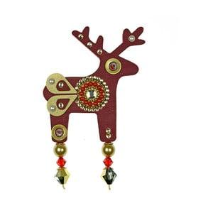 Červená brošňa Deers Belisea, veľká