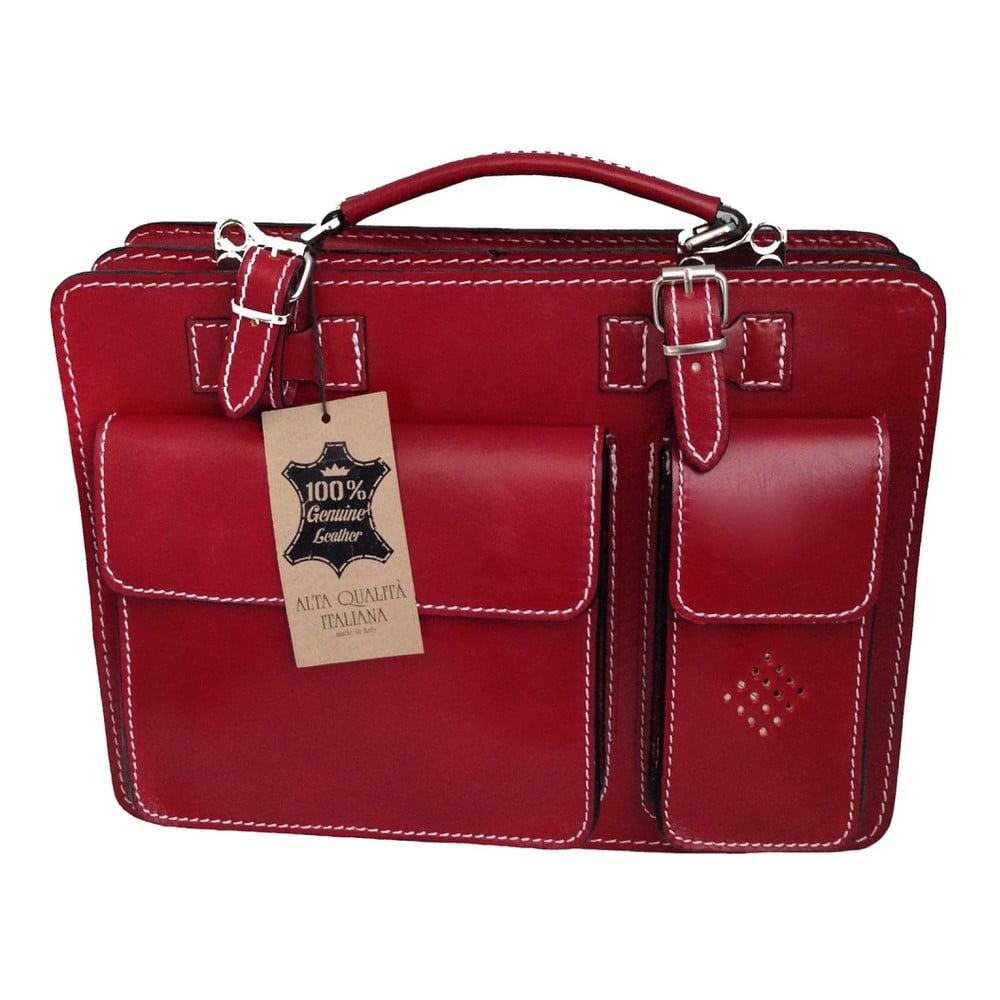 Červený kožený organizér Chicca Borse Busy b8a0c8df916