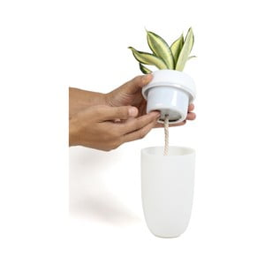 Biely samozavlažovací kvetináč s možnosťou inštalácie na stenu Qualy&CO Carepot