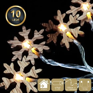 Svetelná reťaz s 10 žltými LED svetielkami Unimasa Snowflake