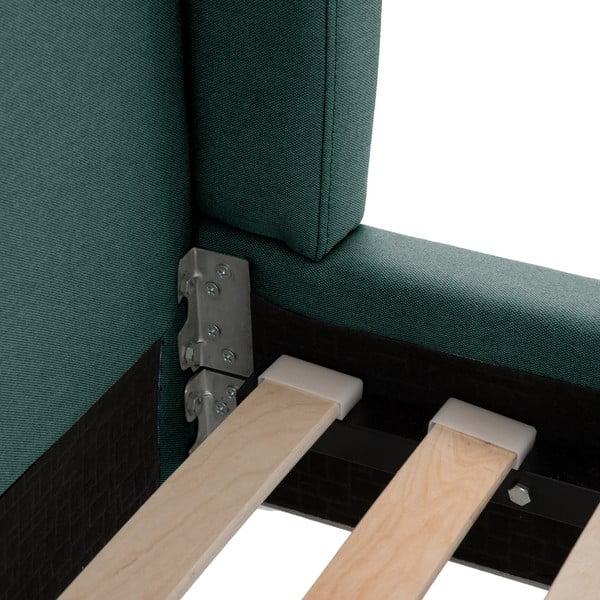 Modrozelená posteľ VIVONITA Windsor 140x200cm, svetlé nohy