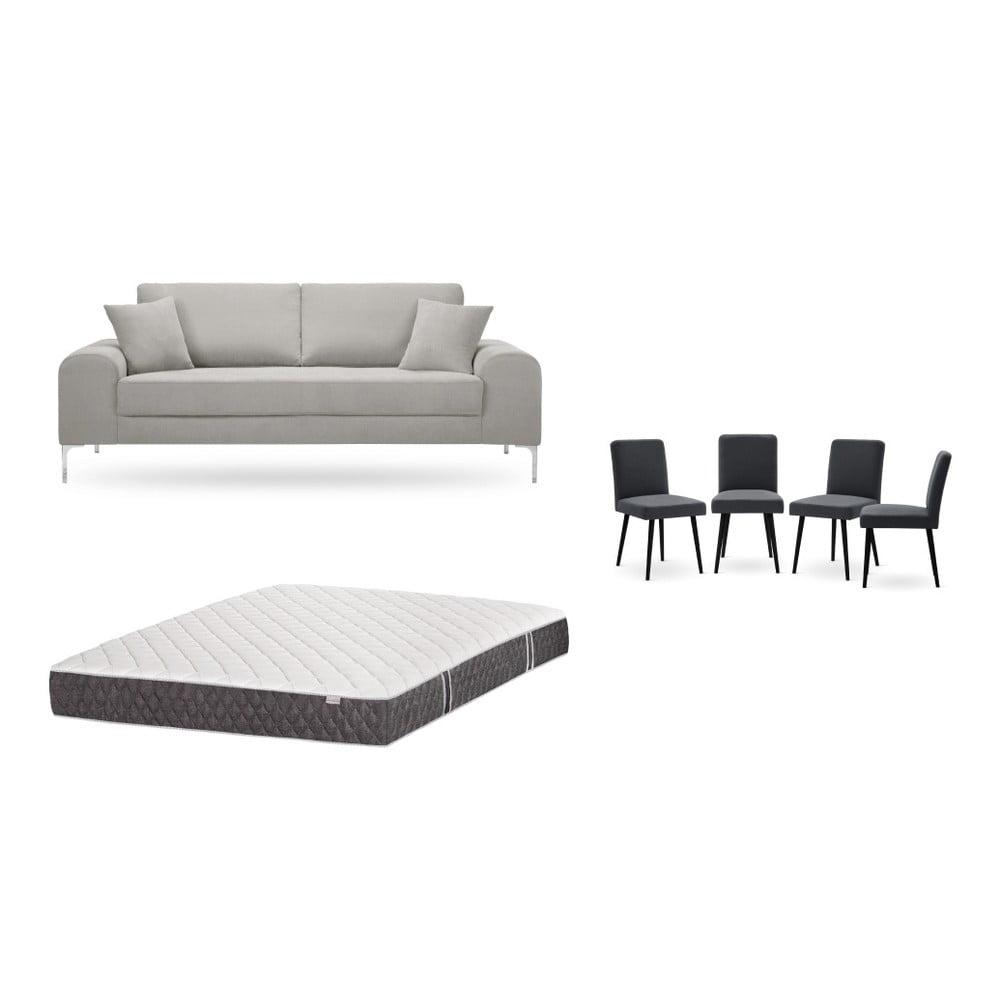 Set trojmiestnej svetlosivej pohovky, 4 antracitovosivých stoličiek a matraca 160 × 200 cm Home Essentials