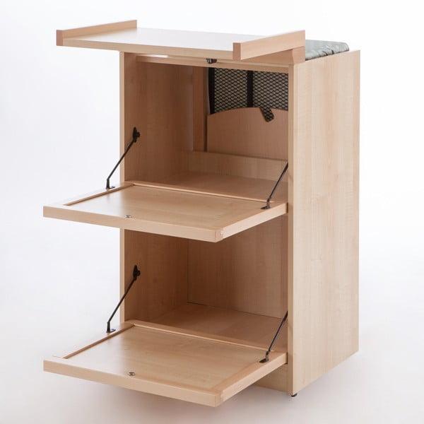 Svetlohnedá skladacia žehliaca doska z bukového dreva so zásuvkami Arredamenti Italia Stiromobile