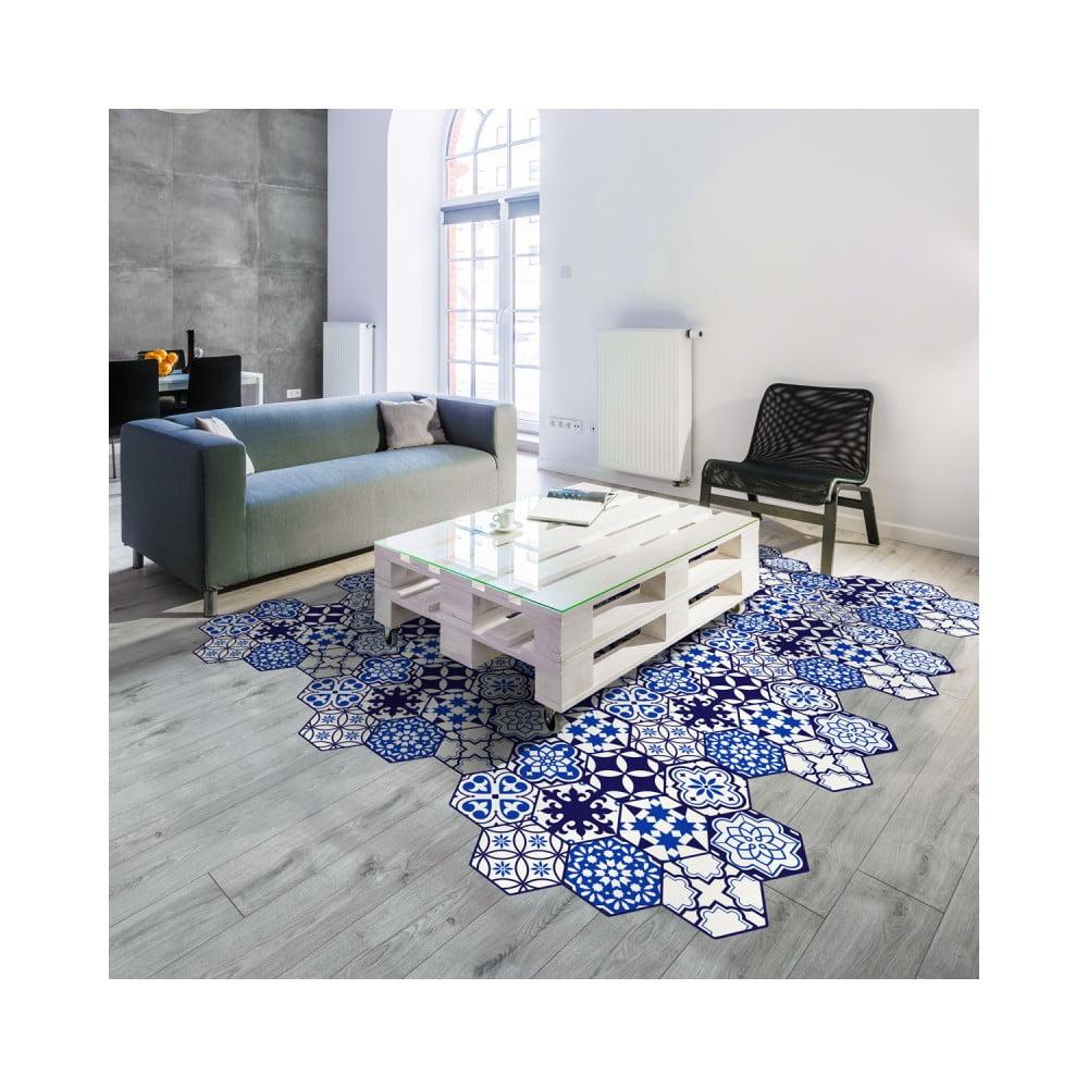 Sada 10 samolepiek na podlahu Ambiance Floor Stickers Hexagons Jena, 40 × 90 cm
