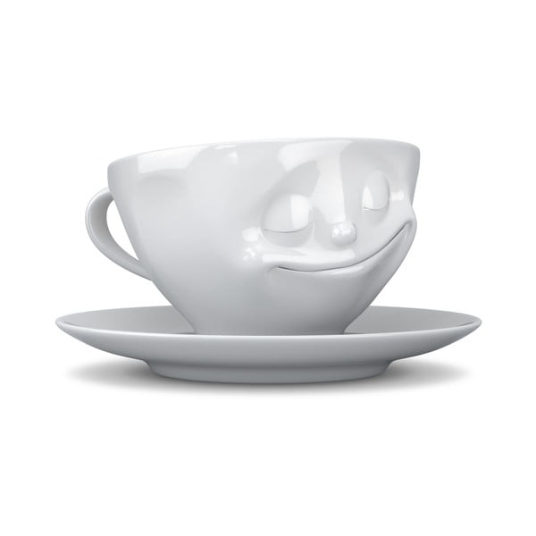 Biely šťastný hrnček na kávu 58products