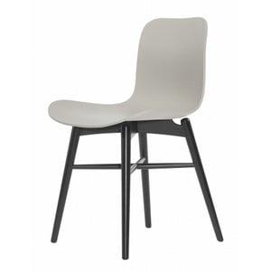 Sivá jedálenská stolička z masívneho bukového dreva NORR11 Langue Stained